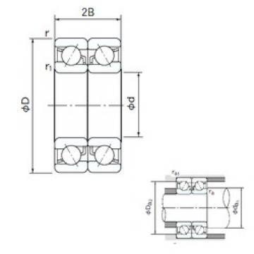 100 mm x 180 mm x 34 mm  NACHI 7220DB angular contact ball bearings