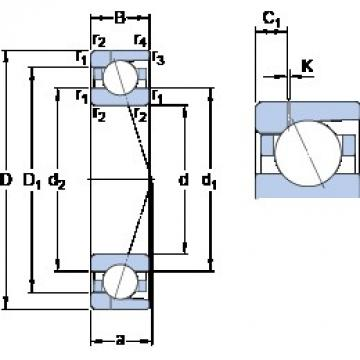 90 mm x 140 mm x 24 mm  SKF 7018 ACD/HCP4AH1 angular contact ball bearings