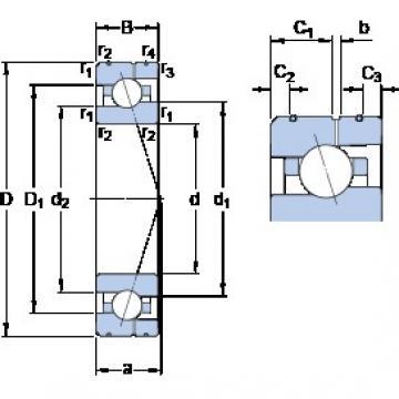 90 mm x 140 mm x 24 mm  SKF 7018 ACE/HCP4AL angular contact ball bearings