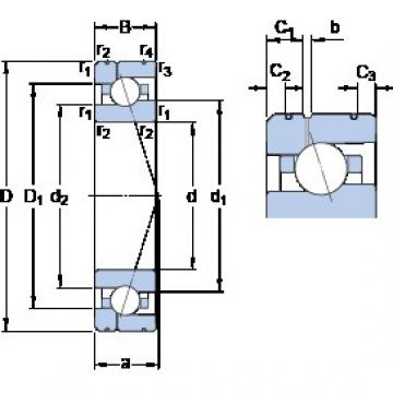 90 mm x 140 mm x 24 mm  SKF 7018 CE/HCP4AL1 angular contact ball bearings