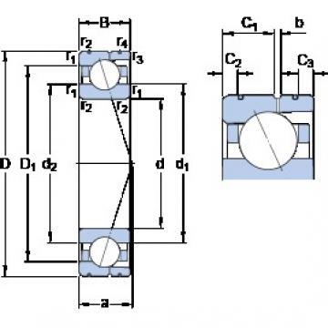 90 mm x 140 mm x 24 mm  SKF 7018 CD/HCP4AL angular contact ball bearings